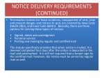 notice delivery requirements continued