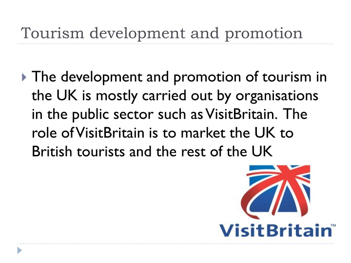 Tourism development and promotion