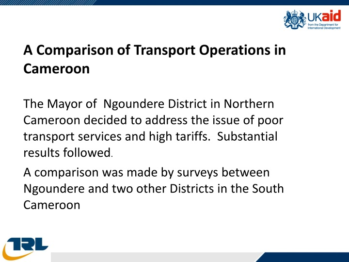 A Comparison of Transport Operations in Cameroon