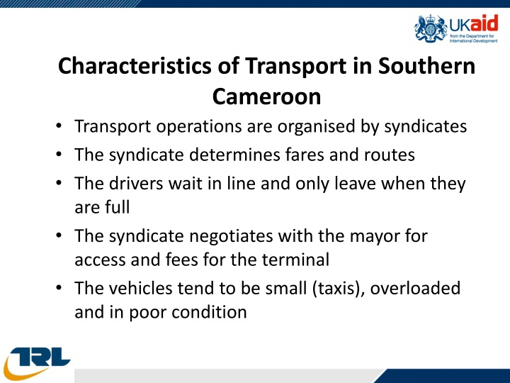 Characteristics of Transport in Southern Cameroon