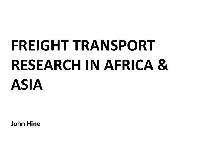 Freight transport research in africa asia