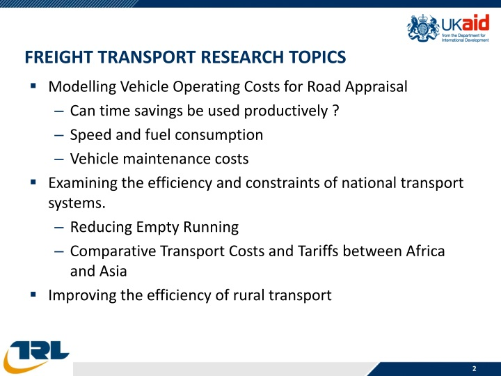 Freight transport research topics