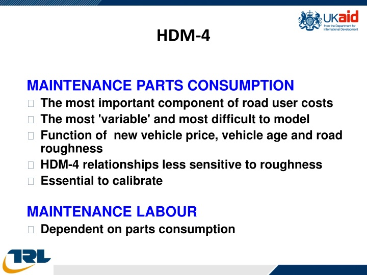 MAINTENANCE PARTS CONSUMPTION