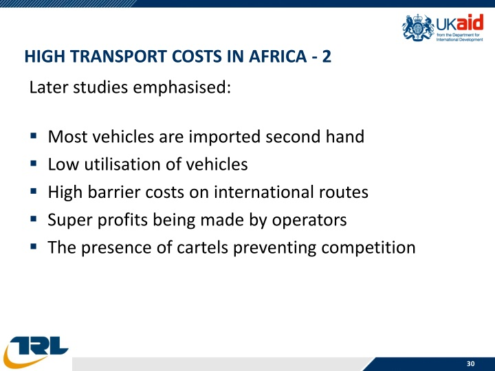 High Transport Costs In Africa - 2