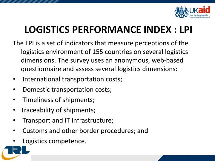 LOGISTICS PERFORMANCE INDEX : LPI