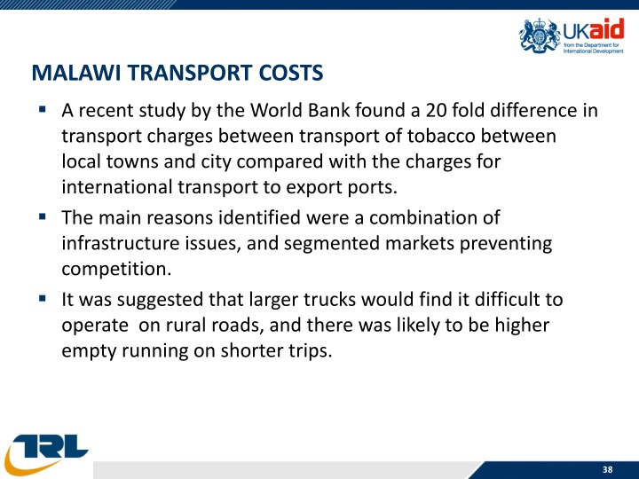 Malawi Transport Costs