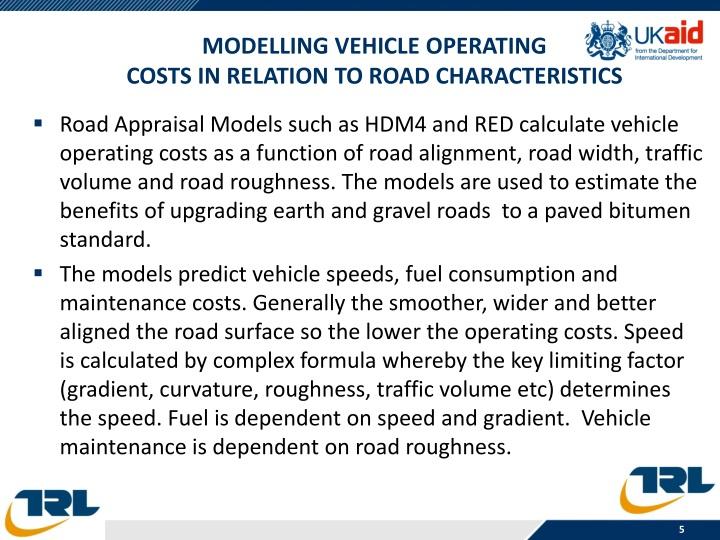 Modelling vehicle operating