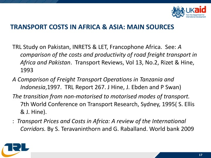 TRANSPORT COSTS IN AFRICA & ASIA: Main Sources