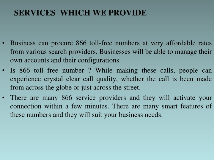 SERVICES  WHICH WE PROVIDE
