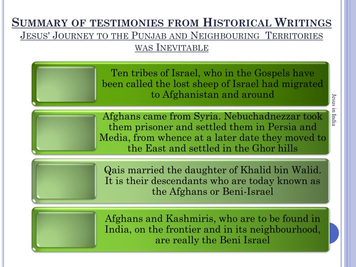 Summary of testimonies