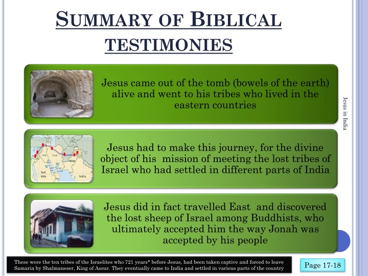 Summary of Biblical testimonies