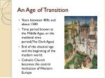 an age of transition