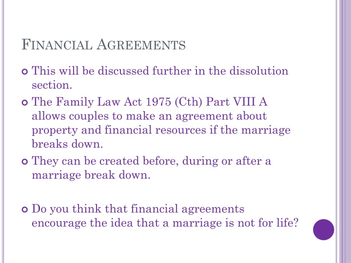 Financial Agreements