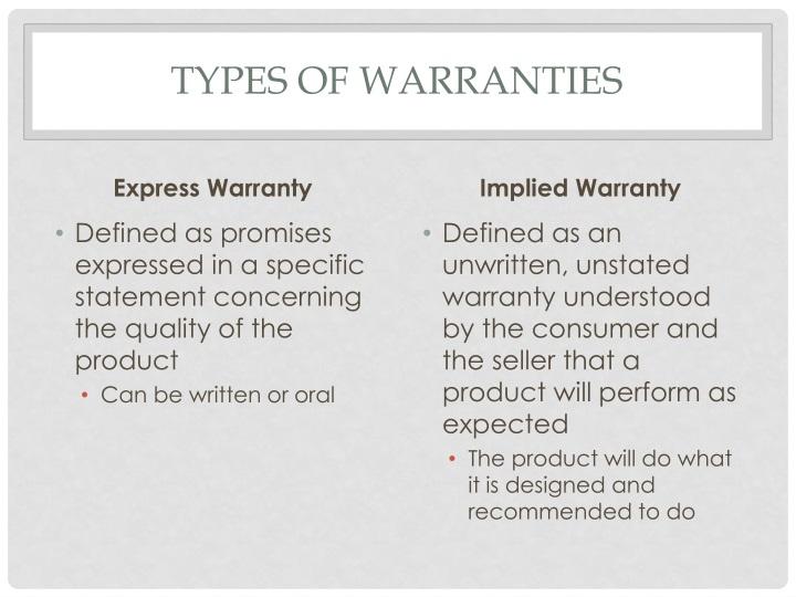 Types of warranties