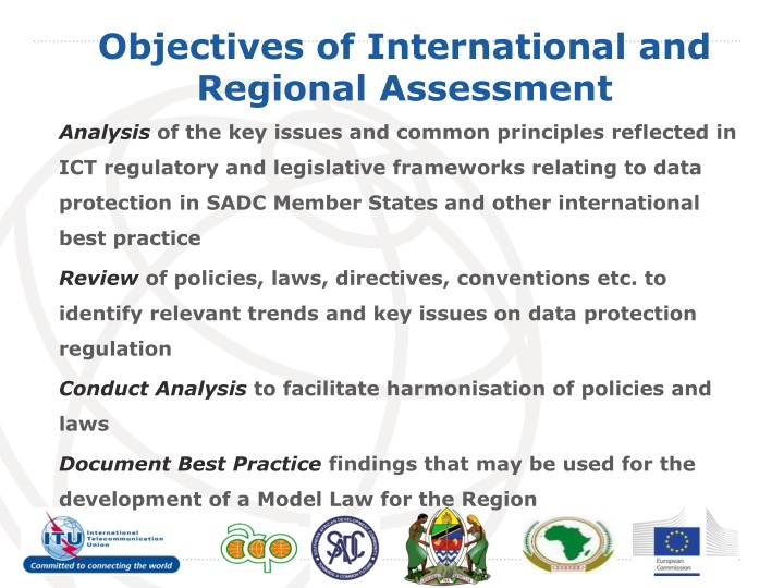 Objectives of international and regional assessment