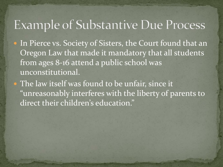 Example of Substantive Due Process