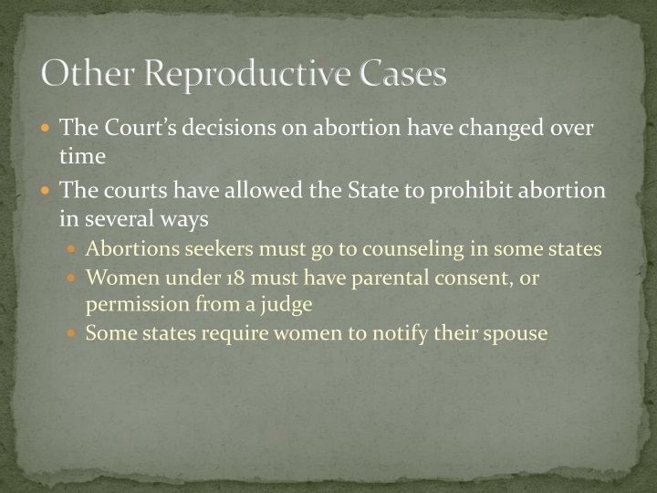 Other Reproductive Cases