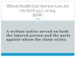 illinois health care services lien act 770 ilcs 23 1 et seq how