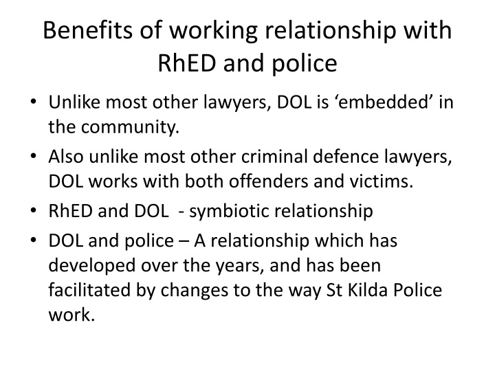 Benefits of working relationship with