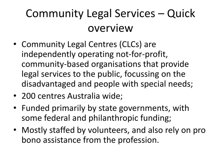 Community Legal Services – Quick overview