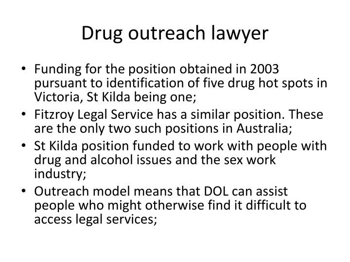 Drug outreach lawyer