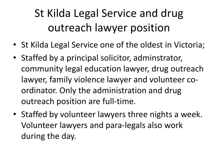 St kilda legal service and drug outreach lawyer position