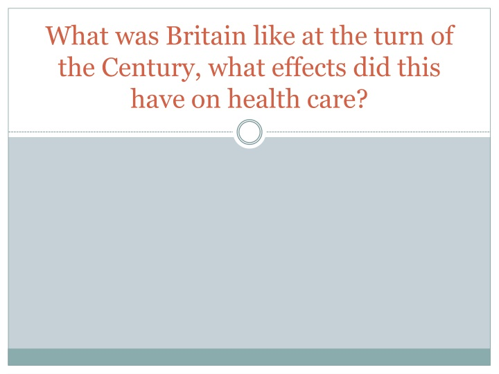 What was Britain like at the turn of the Century, what effects did this have on health care?