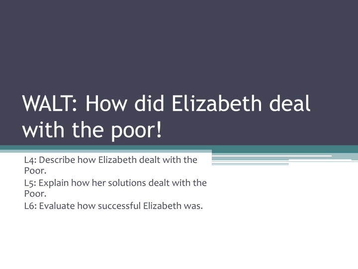 Walt how did elizabeth deal with the poor