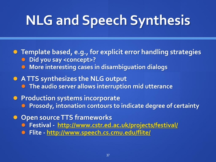 NLG and Speech Synthesis