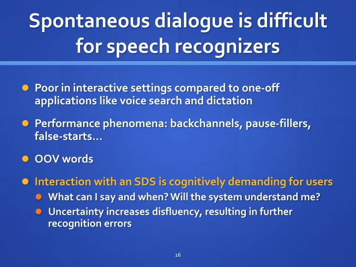 Spontaneous dialogue is difficult for speec