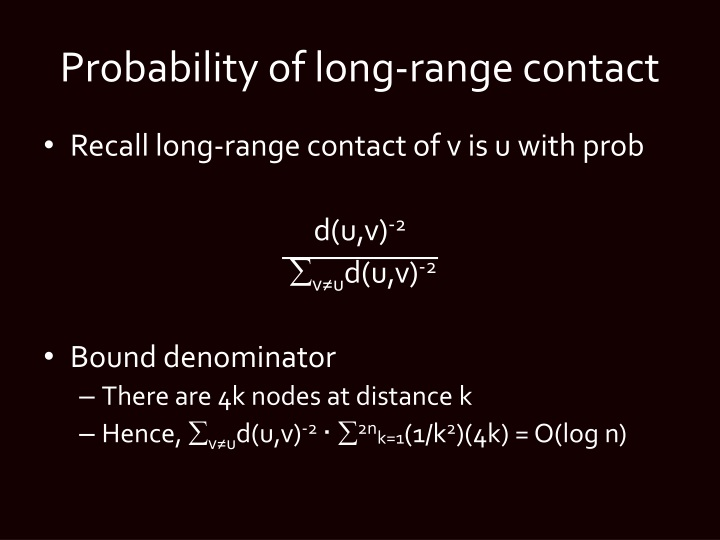 Probability of long-range contact