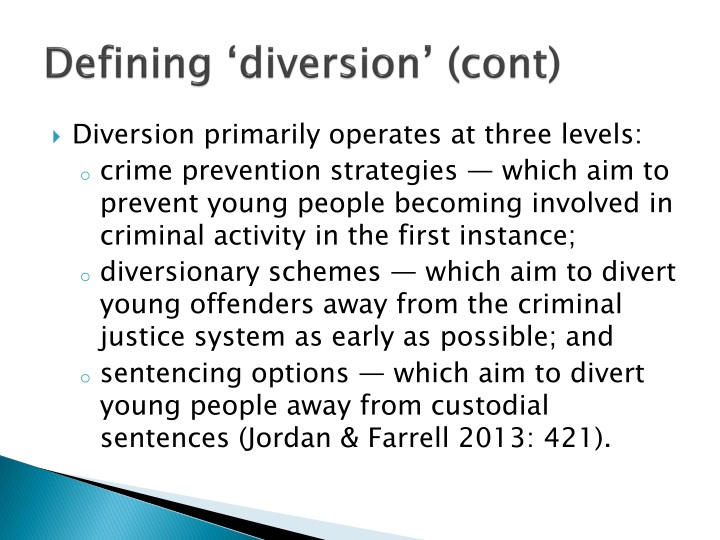 Defining 'diversion' (cont)