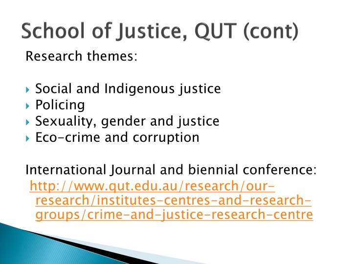 School of justice qut cont