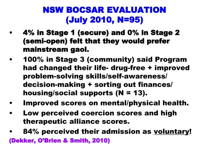 NSW BOCSAR EVALUATION