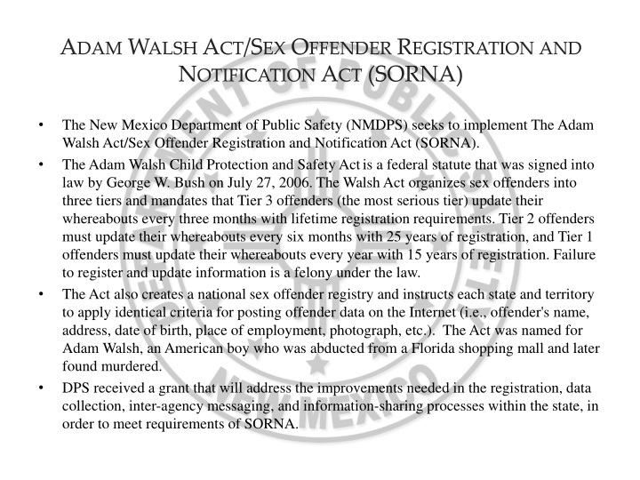 Adam walsh act sex offender registration and notification act sorna