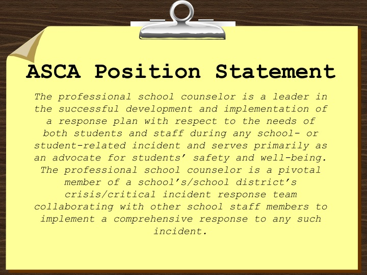 Asca position statement