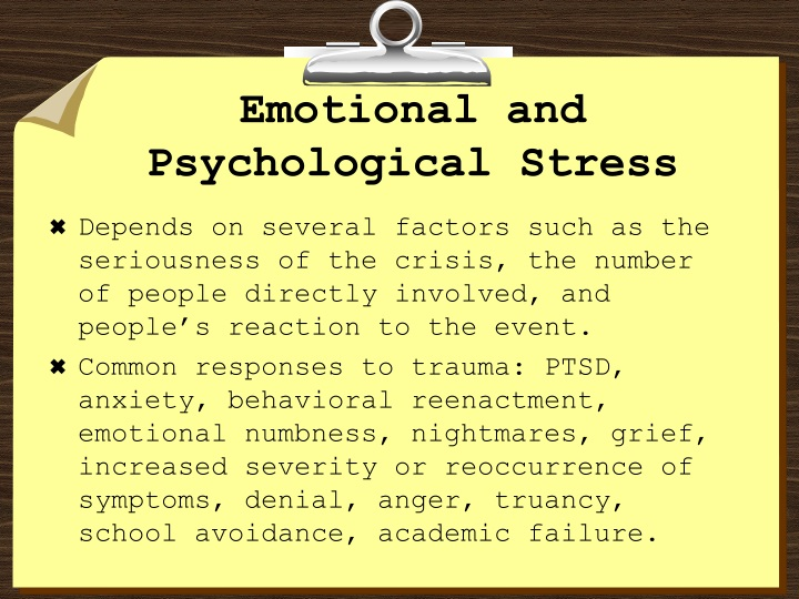 Emotional and Psychological Stress