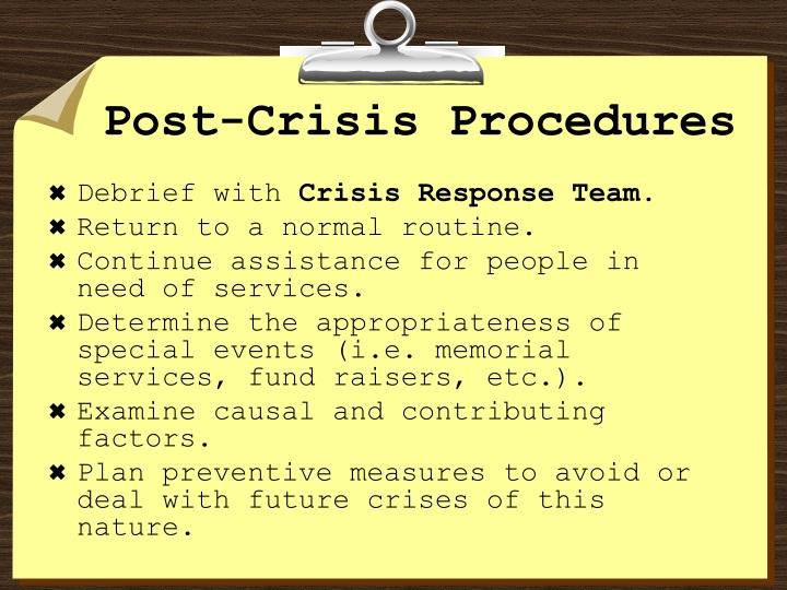 Post-Crisis Procedures
