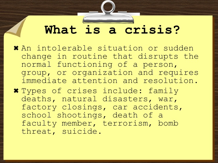 What is a crisis