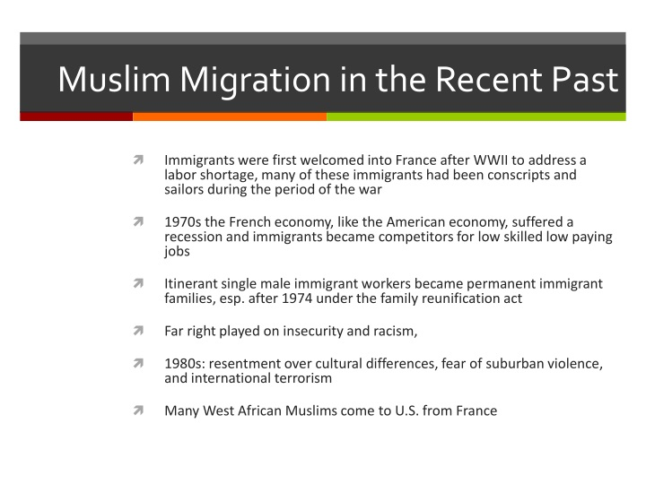 Muslim Migration in the Recent Past