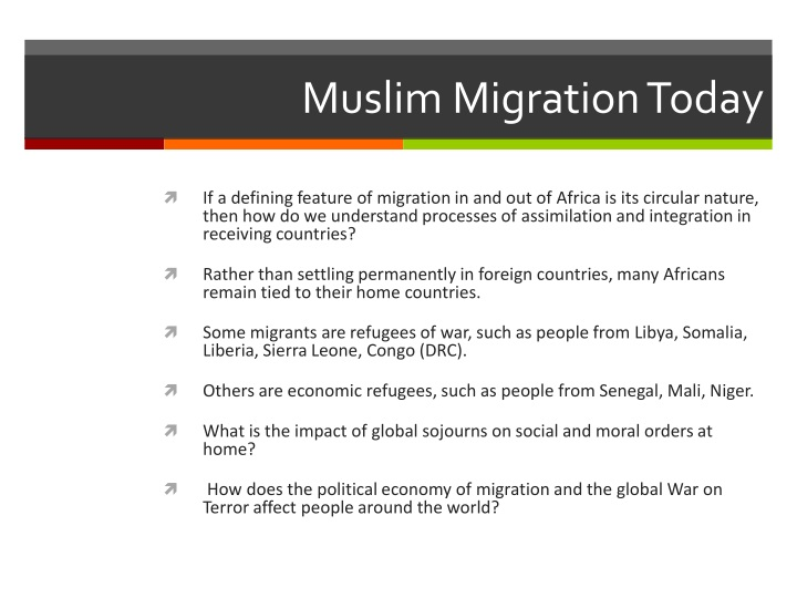 Muslim Migration Today
