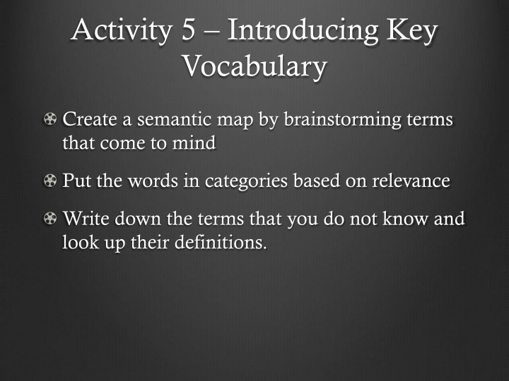 Activity 5 – Introducing Key Vocabulary