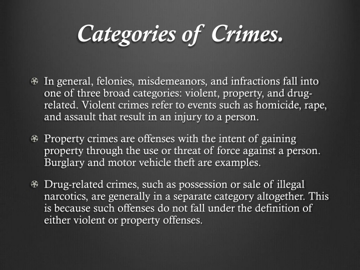 Categories of Crimes.