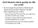 2010 models which qualify for irs tax credit