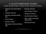 12 least expensive states four mandatory states eight choice states