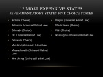 12 most expensive states seven mandatory states five choice states