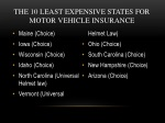 the 10 least expensive states for motor vehicle insurance