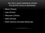 the top 5 least expensive states for motor vehicle insurance