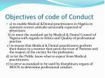 objectives of code of conduct