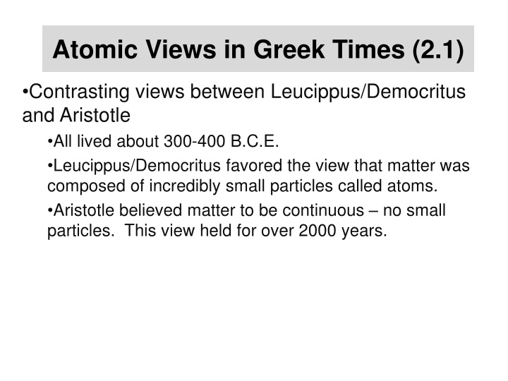 Atomic Views in Greek Times (2.1)